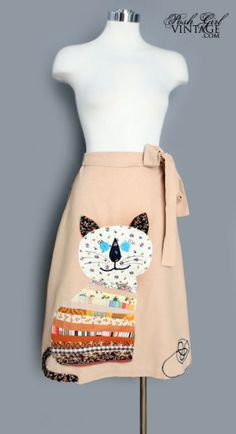 Vintage 70's Wrap Skirt with Quilted Kitty.  Nope...never wore this, never knew anyone who did....but isn't it cute, lol!