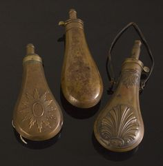 Early American Civil War Powder Flasks