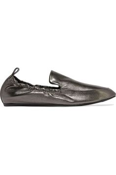 Lanvin - Metallic Leather Loafers - Anthracite - IT35.5