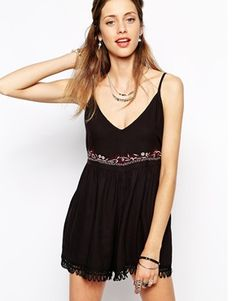 Band of Gypsies Embroidered Smock Playsuit With Fringing