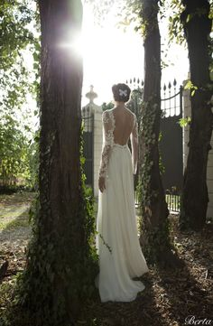 long lace sleeves, open back wedding dress