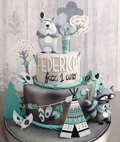 first birthday decorations ideas Baby Boy 1st Birthday Party, Baby Birthday Cakes, Theme Bapteme, Woodland Cake, Cakes For Boys, Baby Kind, Baby Shower Cakes, Eat Cake, Cake Toppers