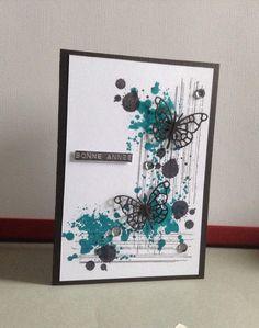 Une petite carte avec mes nouveaux tampons Stampin up, tampons bonne année de simplygraphic et die memory box