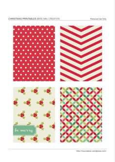 Free Printable Christmas Journal Cards {set 1}
