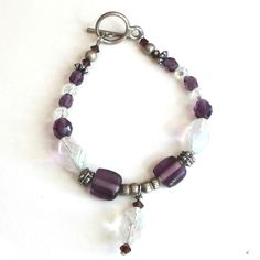 Handmade bracelet large faceted opalescent beads purple crystals size 7 #Pat2 #beaded