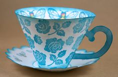 Paper Tea Cup and Saucer free template Diy Paper, Paper Crafting, 3d Templates, Printable Templates, Free Printable, Paper Tea Cups, Teacup Crafts, 3d Christmas, Alice In Wonderland Party
