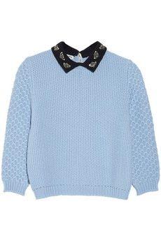 miumiu/Jewel-collared chunky-knit wool sweater