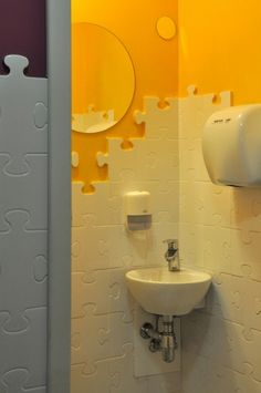 be cool if we could make lego ones! Daycare Design, School Design, Espace Design, Kids Toilet, Kindergarten Design, Restroom Design, Home Daycare, Baby Room Design, Bathroom Kids