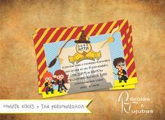 Convite tema Harry Potter. Arte pode ser alterada. papel 210g+tag personalizada Minimo 30 unidades R$ 3,50
