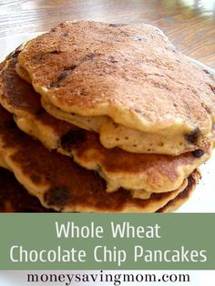Whole Wheat Chocolate Chip Pancakes {These are the best and freeze well, too!}