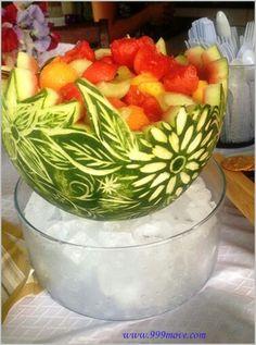 Adrienne Moul carved watermelon bowl