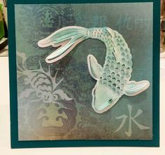 Hero Arts layering Koi. Love this die. Added peacock brilliance ink and added foam squares to create dimension.