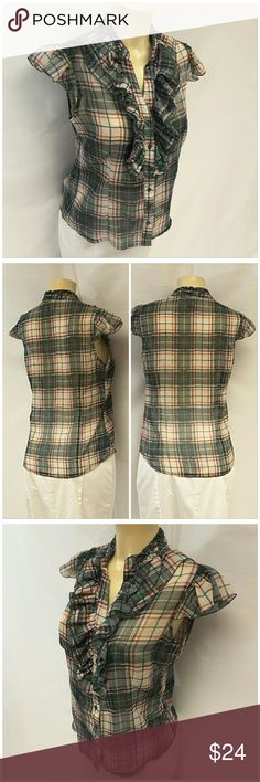 """40% BUNDLE DISCOUNT! FREE SHIPPING ON BUNDLES!! PRETTY GOOD, Plaid Top, size Large See Measurements, ruffled front collar and sleeve, 6 button front, v-neck, horizontal bust darts, shirttail hem, lightweight sheer,silky slinky feminine material, machine washable, 100% polyester, approximate measurements: 25"""" length, 18"""" bust laying flat.  ADD TO A BUNDLE!?? 40% BUNDLE DISCOUNT! FREE SHIPPING ON BUNDLES!! OFFER 40% less Plus $6 LESS ON BUNDLES for shipping reimbursement! Pretty Good Tops"""