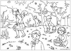 Easter egg hunt colouring page, Easter colouring pages