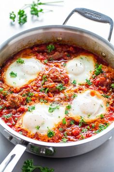 Eggs In Hell with Italian Sausage - Sometimes called Eggs in Purgatory or…