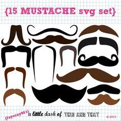 15 Mustache SVG DXF cut files. $2.50, via Etsy.