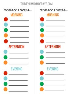 Chore Chart...Free...you fill in...they check morning, afternoon, evening for a little freedom