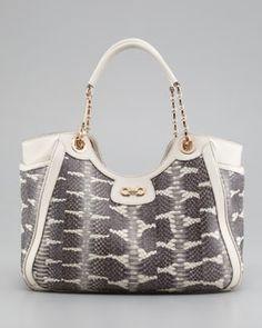 V1AGM Salvatore Ferragamo Betulla Snake-Print Leather Tote Bag, Cream