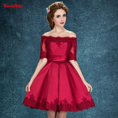 Cheap robe de soiree, Buy Quality evening dress directly from China robe de Suppliers: Suosikki 2017 Wine Red Lace Embroidery Luxury Satin Half Sleeved short Evening Dress Elegant Banquet Prom Dress Robe De Soiree Elegant Prom Dresses, Designer Prom Dresses, Cheap Evening Dresses, Petite Dresses, Short Dresses, Dresses Dresses, Quinceanera Dresses, Homecoming Dresses, Champagne Colored Prom Dresses