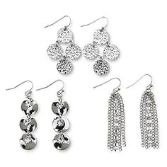 Attention Women's 3-Pairs Silvertone Dangle Earrings