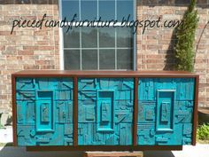 Brutalist triple dresser made by Lane painted in brown and brushed with a teal on the drawers....PieceOfCandyFurniture in Houston, TX