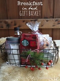 Breakfast in Bed Gift Basket: perfect, easy and thoughtful Christmas present, in. Breakfast in Bed Gift Basket: perfect, easy and thoughtful Christmas present, includes a recipe for Diy Gift Baskets, Christmas Gift Baskets, Diy Christmas Gifts, Holiday Gifts, Basket Gift, Coffee Gift Baskets, Christmas Present Basket Ideas, Homemade Gift Baskets, Raffle Baskets