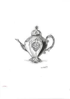 all classic tea pot  Artlike by Alexandra Karakopoulou  www.artlike.info Tea Pots, Sketches, Illustrations, Tattoos, Drawings, Classic, Flowers, Derby, Tatuajes