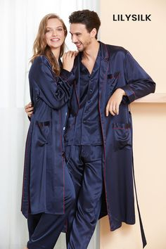 100% Mulberry Silk Couple Pajamas and Robe Sets. #hisandher #pajamaset #pajamassatin #silkpajamas
