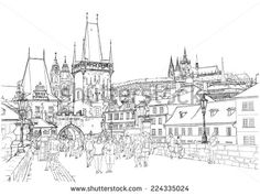 Find Charles Bridge Prague Czech Republic Vector stock images in HD and millions of other royalty-free stock photos, illustrations and vectors in the Shutterstock collection. Thousands of new, high-quality pictures added every day. Architecture Sketches, Architecture Design, Bridge Drawing, City Sketch, Charles Bridge, Prague Czech Republic, Perspective Drawing, Vector Stock, Cartography