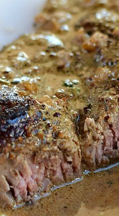 Steak au Poivre Steak au Poivre {aka pepper steak} seared to perfected and topped off with a shallot, mustard, and cognac sauce for the perfect date night meal! Easy Steak Recipes, Grilled Steak Recipes, Meat Recipes, Cooking Recipes, Steak Meals, Cooking Tips, Cooking Steak, Recipies, Grilled Meat