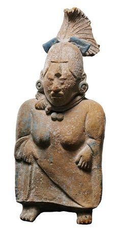 Figura femminile con funzione di sonaglio, Cultura maya, Isola di Jaina, Stato di Campeche, Messico Classico recente, 600-800 d. C. Venezia, Collezione Ligabue.