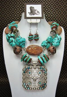TURQUOISE / BROWN / LONGHORN Cowgirl Statement Chunky Western Necklace Set - LoNGHoRN TuRQUoiSe DiVa