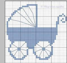 Boy or Girl Baby Carriage Pram Buggy Cross Stitch Pattern Xmas Cross Stitch, Cross Stitch For Kids, Beaded Cross Stitch, Cross Stitch Baby, Cross Stitching, Cross Stitch Embroidery, Embroidery Patterns, Baby Cross Stitch Patterns, Cross Stitch Designs