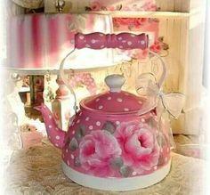 Shabby Hand painted tea pot