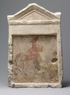 (Period 3 1000 - 1 A D ) **Information** ca 3rd Century BC Hellenistic **Location** Modern Day Greece **Symbols** Drawing  **Content** Horse **Structure** Drawing  **Material** Limestone **Context** Painted limestone funerary slab with a man controlling a rearing horse