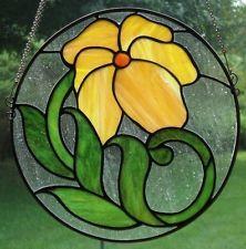 """Stained Glass """"Two Annas"""" Art Nouveau Floral panel suncatcher JK747"""