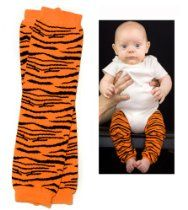 (#48) Tiger print Orange & black baby leg warmers for boy or girl by My Little Legs