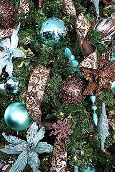 Tiffany Blue & Brown Christmas Tree