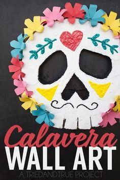 This Calavera Wall Art not only looks beautiful with your Dia de Los Muertos decor but is a breeze to make! #MakeItFunCrafts