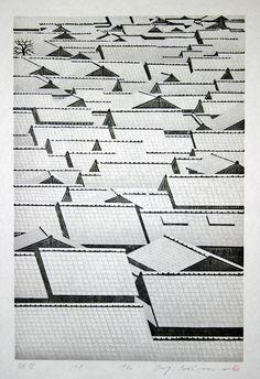 Ray Morimura (Japan Woodblock print 'Hatsuyuki First Snow', Art Japonais, Japanese Painting, Monochrom, Art Graphique, Japanese Prints, Japan Art, Woodblock Print, Printmaking, Modern Art