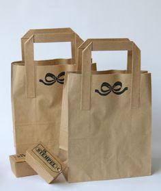 Stamped kraft paper bags.
