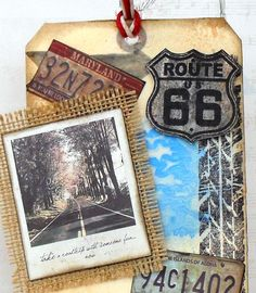 traveller tag 7gypsies canvas corp mixed media tattered angels canvas corp Travel Scrapbook, Creative Studio, Us Travel, Road Trip