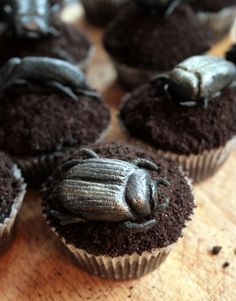 Black beetle cup cakes, I sure hop they are made out of icing!