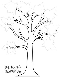 thankful tree printable and leaves printable - going to send this home as a family activity. Bed Rested Teacher: Easy Ways to Celebrate Thanksgiving - Pt. Thanksgiving Tree, Thanksgiving Crafts For Kids, Thanksgiving Activities, Fall Crafts, Holiday Crafts, Thanksgiving Prayers, Vbs Crafts, Tree Coloring Page, Coloring Pages