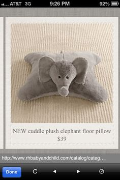 Stuffed elephant pillow from Restoration Hardware
