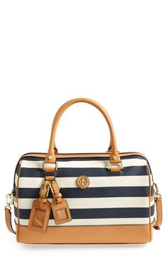 In love with the navy and white stripes on this nautical style Tory Burch satchel!