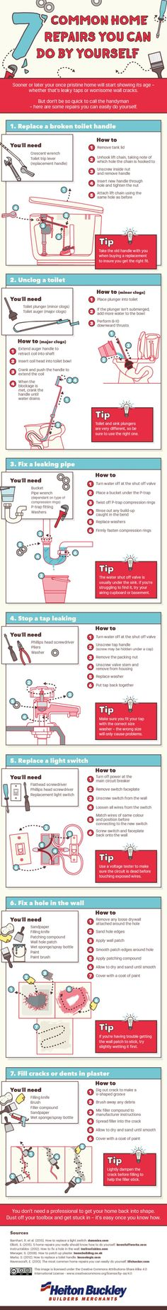 This is a fantastic infographic that showcases 7 common home repairs that you too can do yourself. Because all home need care and attention. If you think you have the skills to perform some of these projects yourself, here are some tips on how to get thes Home Improvement Projects, Home Projects, Home Fix, Diy Home Repair, Home Ownership, Home Repairs, Do It Yourself Home, Home Hacks, Clean House