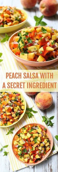 Peach Salsa Recipe Without Tomatoes Healthy Snacks, Healthy Eating, Healthy Recipes, Restaurant Style Salsa, Good Food, Yummy Food, Fruit Salsa, Mexican Food Recipes, Ethnic Recipes