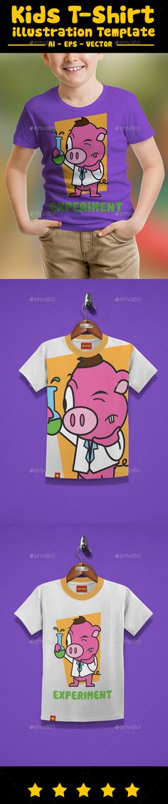d7ce86649 Pig Kids T-shirt Design by kids t-shirt design, with cute illustration  Really Easy to edit Separate Color 100 Vector File Ready To Print