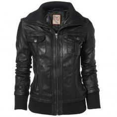 IL2L Women's Black Leather Bomber Jacket with a Deep Knitted Collar
